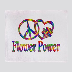 Peace Love Flower Power Throw Blanket