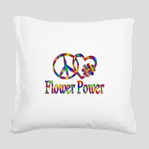 Peace Love Flower Power Square Canvas Pillow