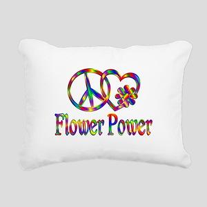Peace Love Flower Power Rectangular Canvas Pillow