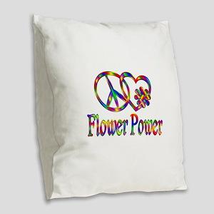 Peace Love Flower Power Burlap Throw Pillow