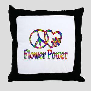 Peace Love Flower Power Throw Pillow
