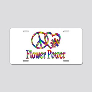 Peace Love Flower Power Aluminum License Plate