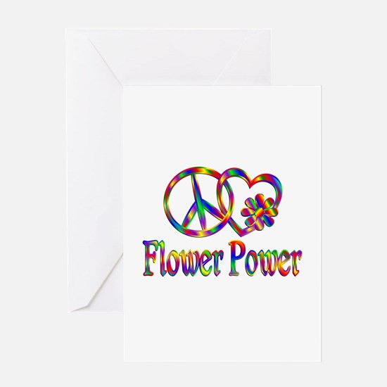 Peace Love Flower Power Greeting Card
