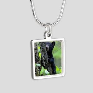 Black Bear Cub Silver Square Necklace