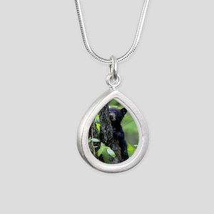 Black Bear Cub Silver Teardrop Necklace