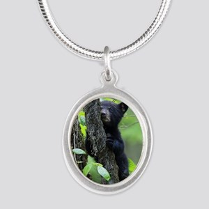 Black Bear Cub Silver Oval Necklace