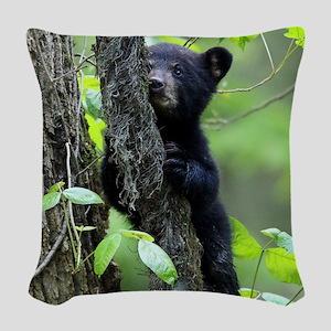 Black Bear Cub Woven Throw Pillow