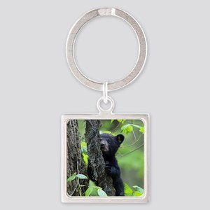Black Bear Cub Square Keychain