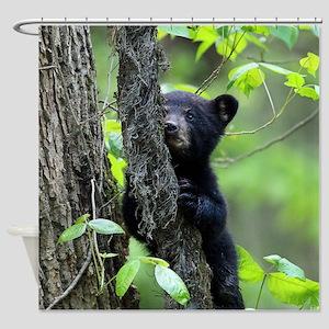 Black Bear Cub Shower Curtain