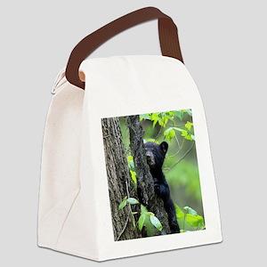 Black Bear Cub Canvas Lunch Bag