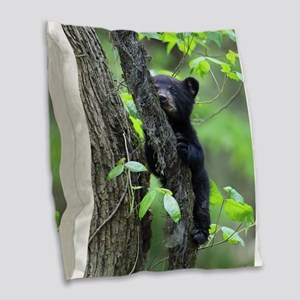 Black Bear Cub Burlap Throw Pillow