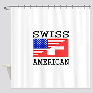 Swiss American Flag Shower Curtain