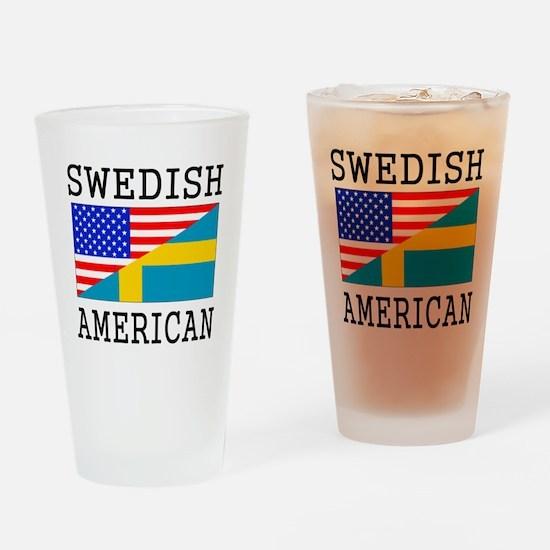 Swedish American Flag Drinking Glass