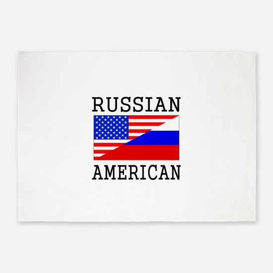 Russian American Flag 5'x7'Area Rug