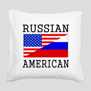 Russian American Flag Square Canvas Pillow