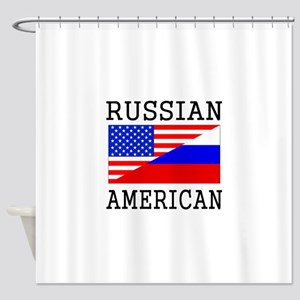 Russian American Flag Shower Curtain