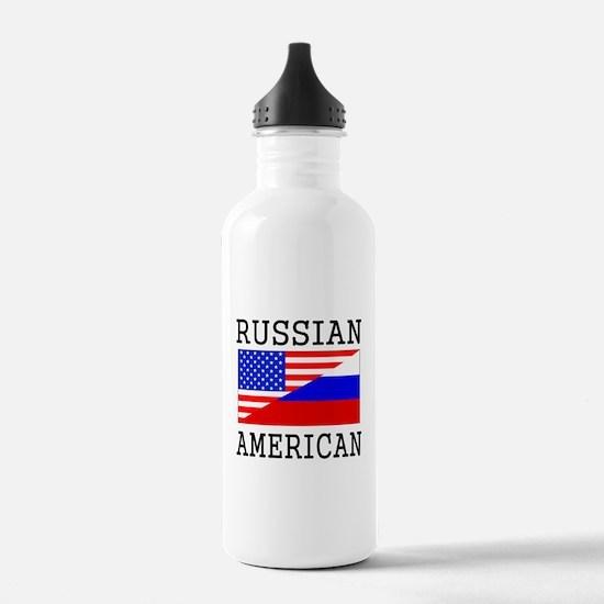 Russian American Flag Water Bottle
