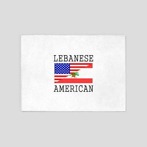 Lebanese American Flag 5'x7'Area Rug
