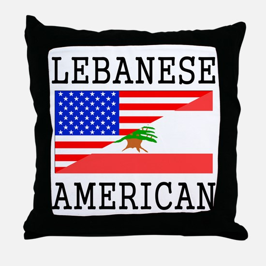 Lebanese American Flag Throw Pillow