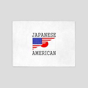 Japanese American Flag 5'x7'Area Rug