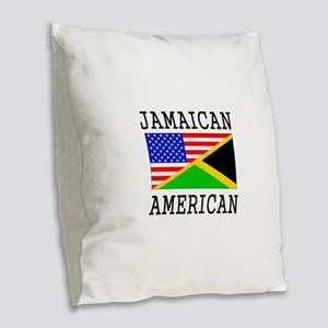 Jamaican American Flag Burlap Throw Pillow