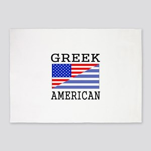 Greek American Flag 5'x7'Area Rug