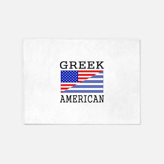 Greek American Flag 5'x7'Area Rug