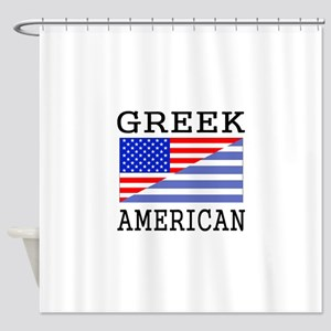 Greek American Flag Shower Curtain