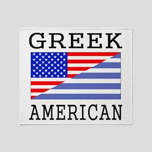 Greek American Flag Throw Blanket
