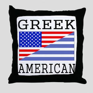 Greek American Flag Throw Pillow