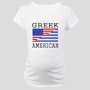Greek American Flag Maternity T-Shirt