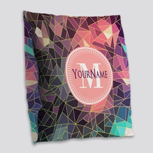 Colorful Mosaic Pattern Person Burlap Throw Pillow