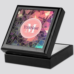 Colorful Mosaic Pattern Personalized Keepsake Box