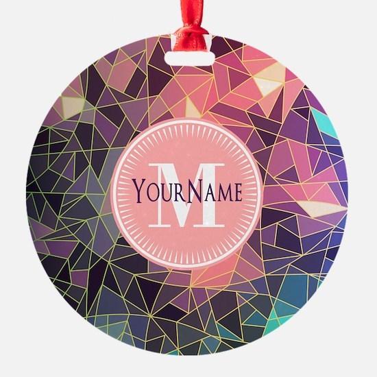 Colorful Mosaic Pattern Personalize Ornament