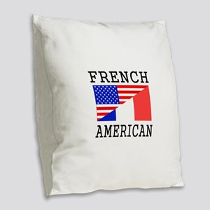 French American Flag Burlap Throw Pillow