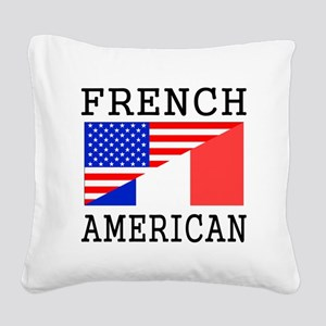 French American Flag Square Canvas Pillow