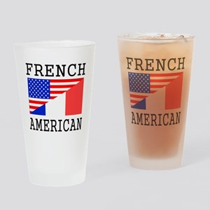 French American Flag Drinking Glass