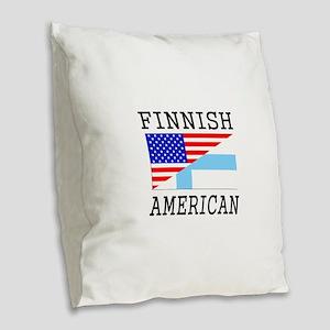 Finnish American Flag Burlap Throw Pillow