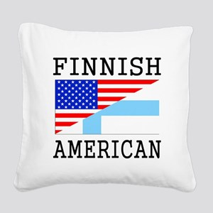 Finnish American Flag Square Canvas Pillow