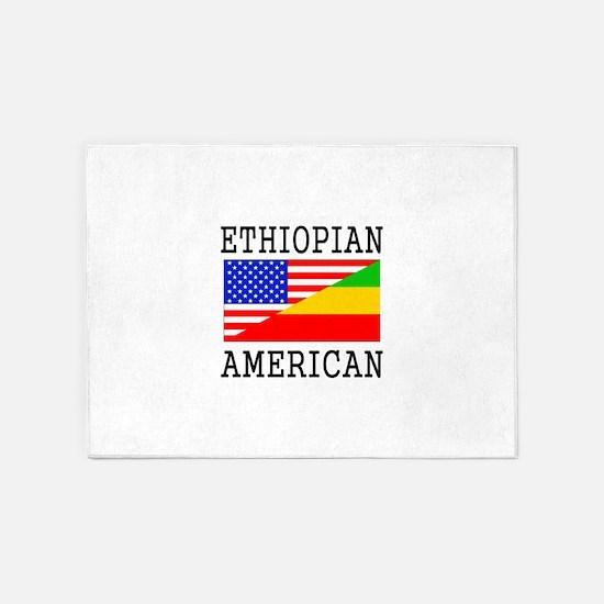 Ethiopian American Flag 5'x7'Area Rug