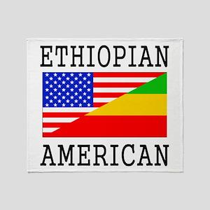 Ethiopian American Flag Throw Blanket