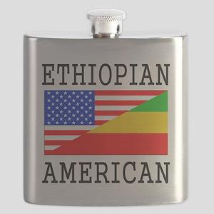 Ethiopian American Flag Flask