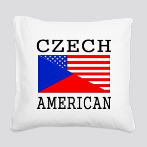 Czech American Flag Square Canvas Pillow