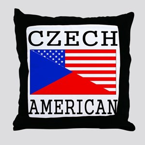 Czech American Flag Throw Pillow