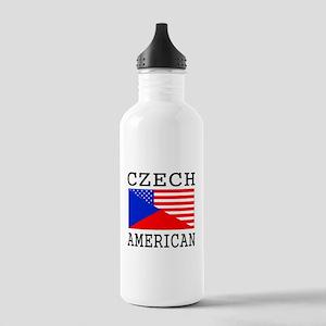 Czech American Flag Water Bottle