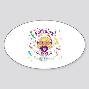 February Birthstone Angel Sticker (Oval)