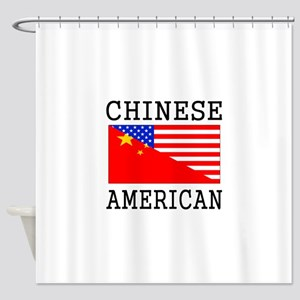 Chinese American Flag Shower Curtain