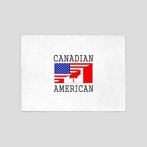 Canadian American Flag 5'x7'Area Rug
