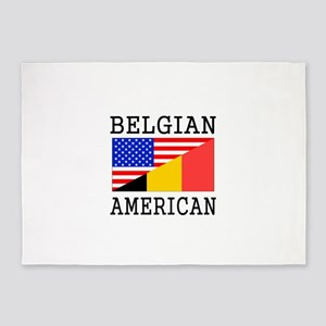Belgian American Flag 5'x7'Area Rug