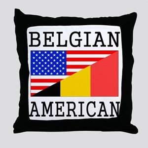 Belgian American Flag Throw Pillow